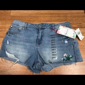 Almost famous denim cutoff embroidered shorts 15